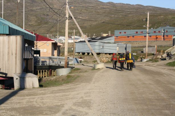 The group heading down to the boat in Pangnirtung
