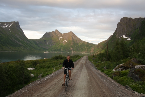 Me cycling in the midnight sun