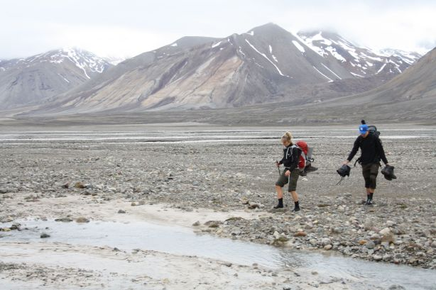 Crossing the braided glacial stream