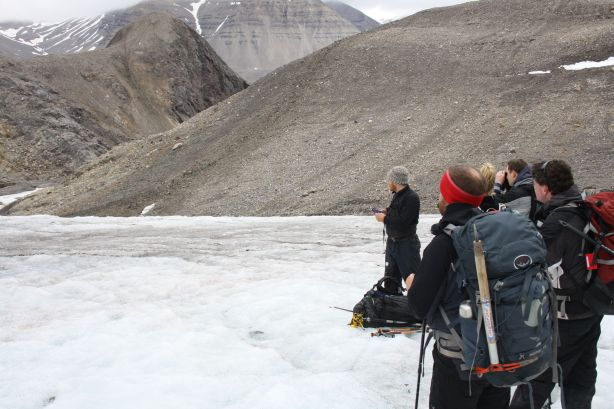 At the bottom of the glacier.