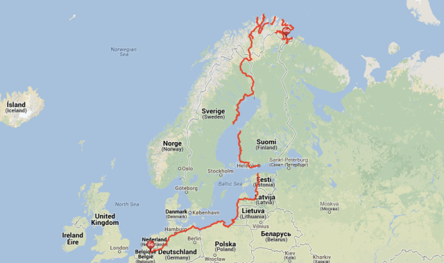 My route by bicycle: Eindhoven - North Cape - Kirkenes. Summer 2013