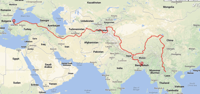 World Bike Trip 2015: Route through Asia