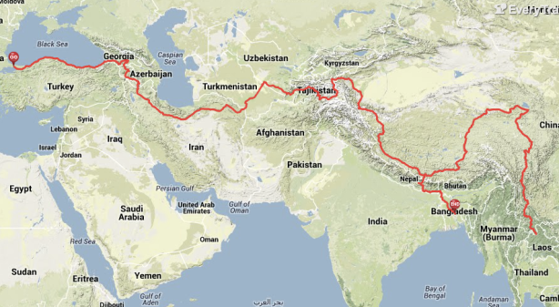 World Cycle Trip 2015: Route Through Asia