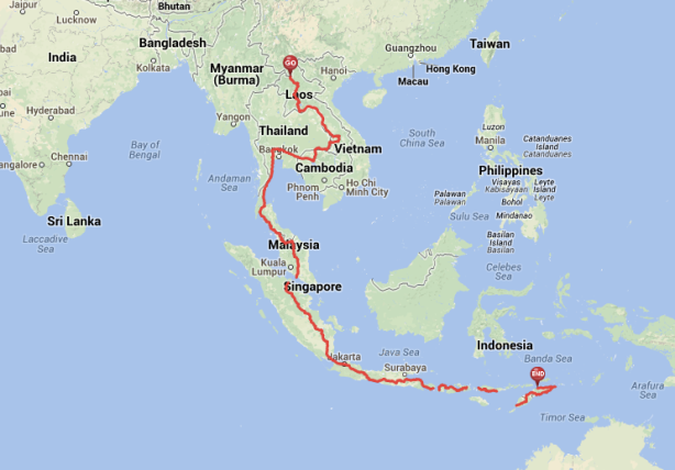 Route through South-east Asia