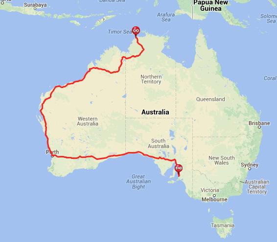 Route across Australia