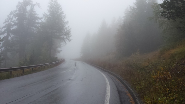 Climbing in the mist