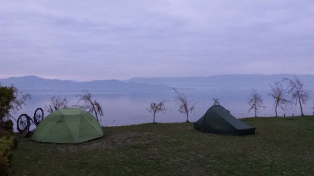 Our tents on Lake Ohrid