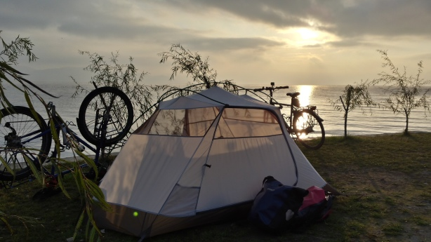 Sunrise at our campsite on Lake Ohrid