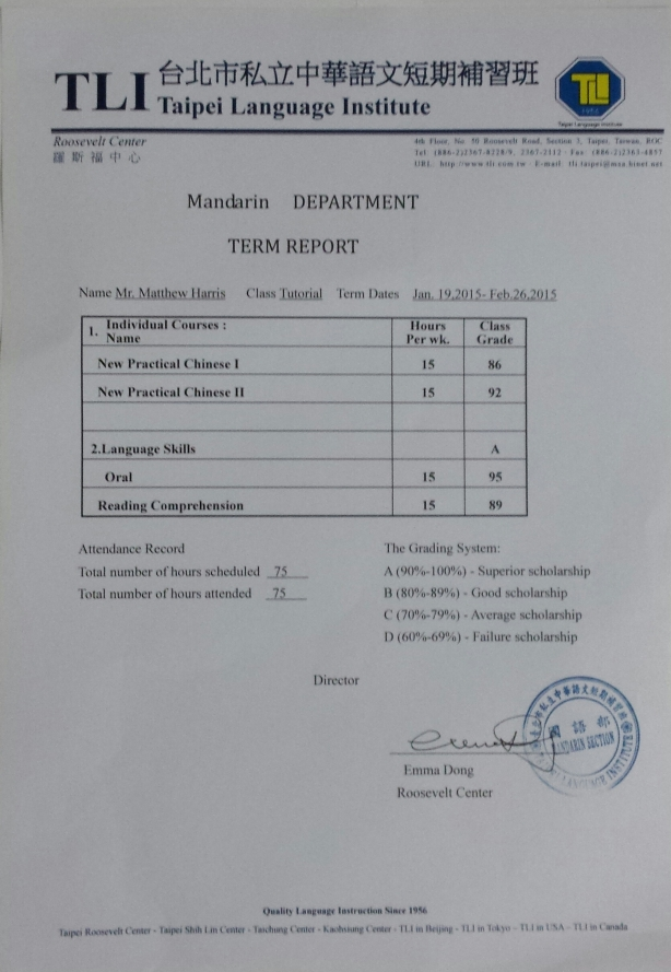 Chinese language grades