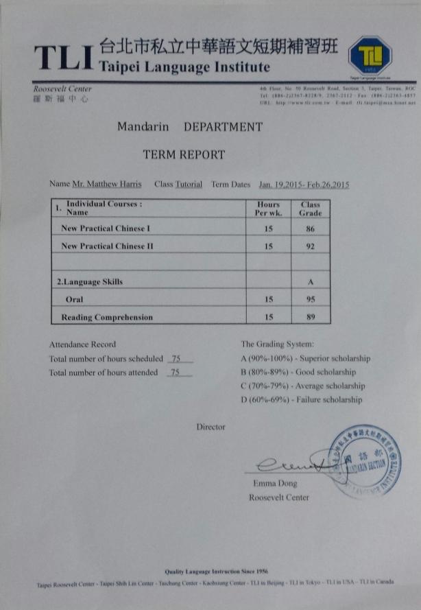 Chinese language grades