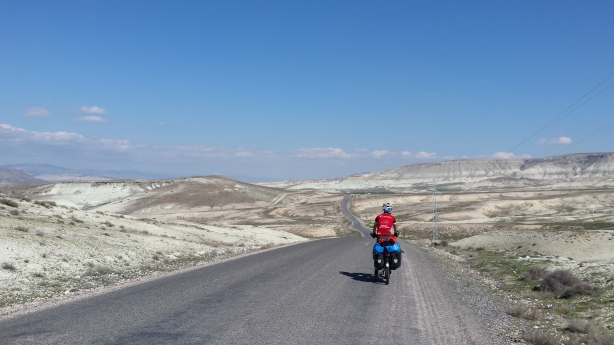 James cycling through the chalky landscape