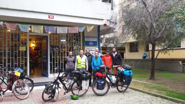 Farewell at Bisiklet Gezgini bike shop in Istanbul
