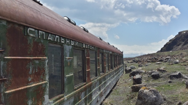 Rusty train on Lake Sevan