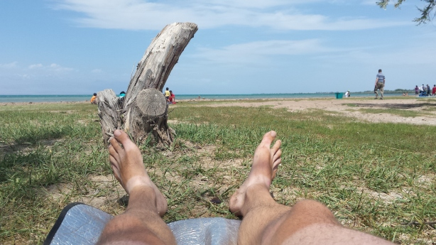 Sun bathing on Issykul