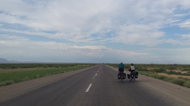 David and Isabella on the endless straight road
