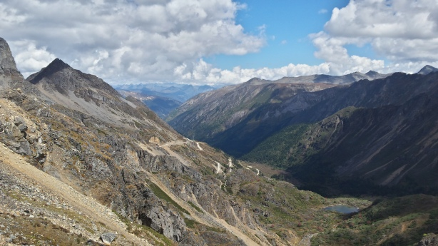 Looking down from the pass