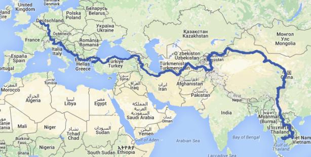 My route up to Bangkok