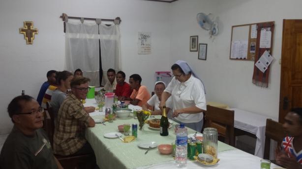 Sister Clara cuts the cake