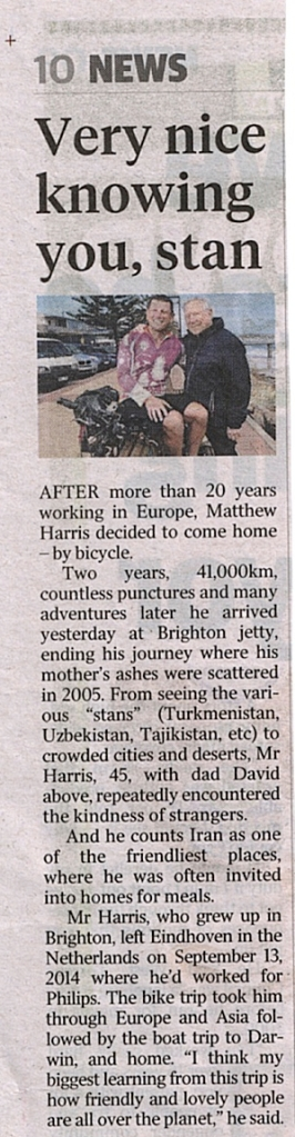 Article in the Adelaide Advertiser 28.09.2016