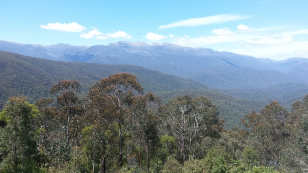 View of the highest mountains in Australia