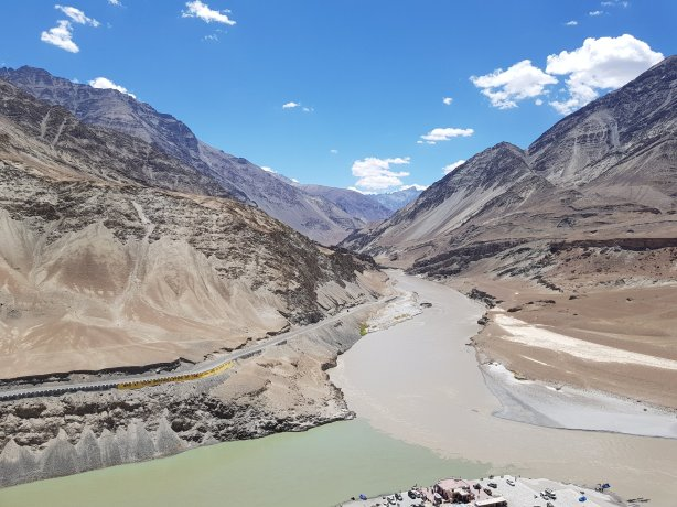 The confluence of the Zanskar and Indus rivers