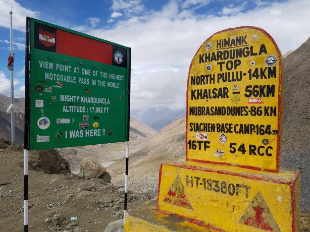 Khardung La summit. Not sure of the altitude though.