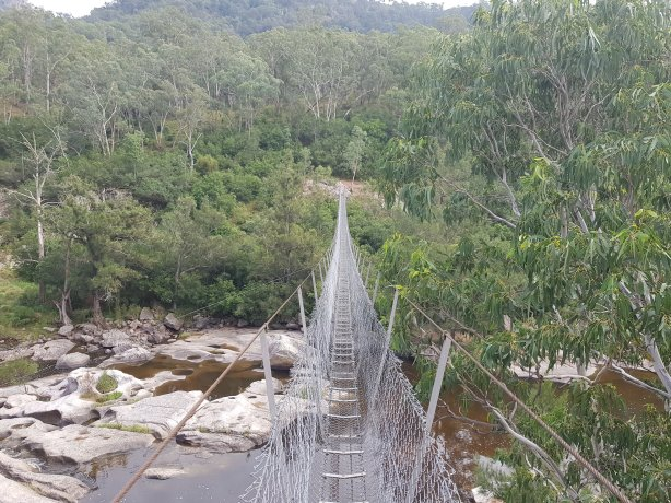 The suspension bridge over Cox's River