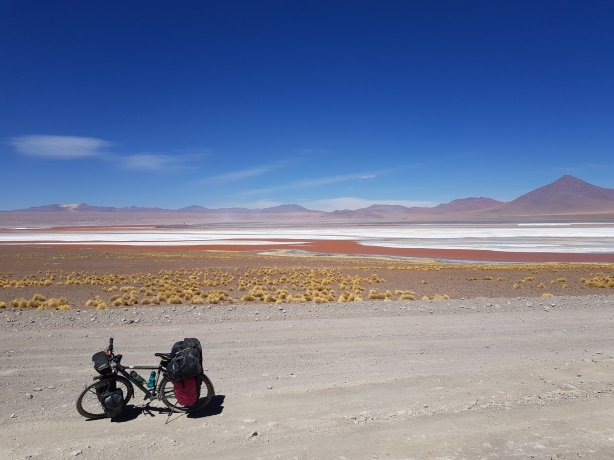Cycling alongside Laguna Colorada