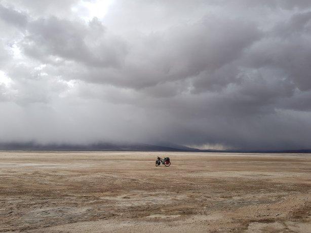 Bike on the expanse of salt